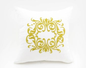 Medallion Pillow Cover, White Linen Gold Medallion Embroidery, Gold Accent Pillow, Damask throw pillow, Home Decor, Cushion cover