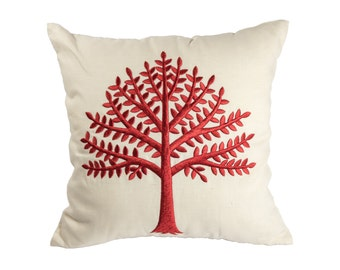Tree Pillow, Embroidery Pillow, Floral Pillow Cover, Throw Pillow Cover, Botanical, Decorative Pillow, Red Cushion, Couch Pillows