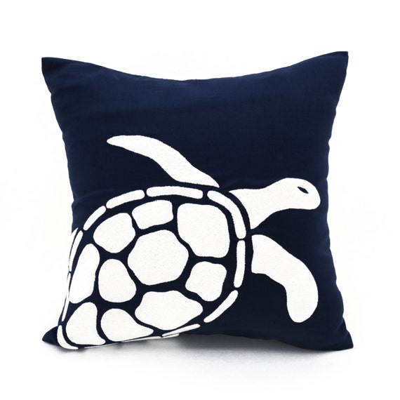 Sea turtle pillow white sea turtle embroidery navy blue linen pillow