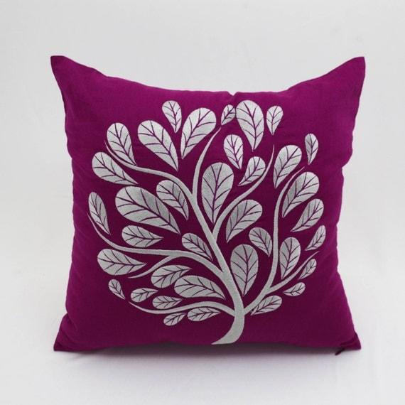 Peacok Tree Decorative Pillow Cover Dark Purple Linen Gray