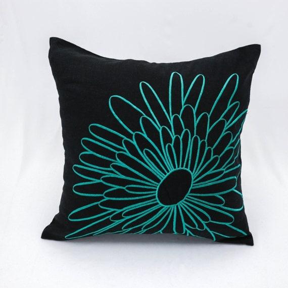 Teal Throw Pillow Cover Dark Brown Linen Teal Flower