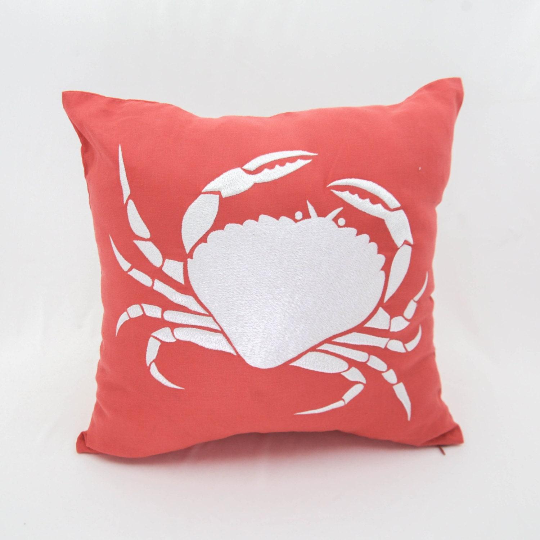 Coastal Decorative Pillow Covers : Crab Pillow Cover Coastal Throw Pillow Coral Orange Linen