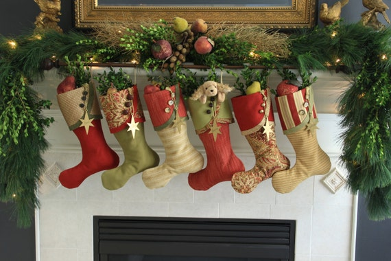 Christmas Stockings in Rich Reds, Leafy Greens and Golds
