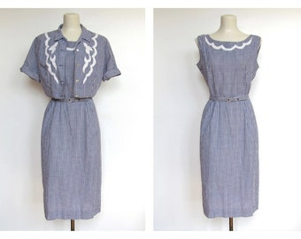 Vintage 1950s Pat Perkins / Blue and White Gingham / Sleeveless Day Dress and Jacket