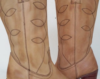 Vintage Made in ROMANIA Leather Cowboy Boots womens size 6.5 or 7 //Camel Color/Cream