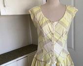 Chelsea Morning - 1970's Yellow Plaid Cotton Dress