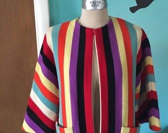 Roman Summer Holiday - 1950's Rainbow Stripe Dolman Sleeve Italian Knit Jacket
