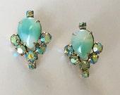 Aqua Aurora Borealis Rhinestone Statement Earrings- Heirloom Collection