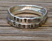 custom name ring stacking rings, ONE hand stamped fine silver stacking rings, silver ring for girkfriend moms jewelry