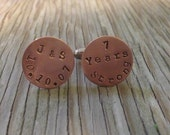 Hand stamped copper cuff links 5/8 inch gift for him custom mens gift 7th anniversary copper gift wedding party Fathers Day gift