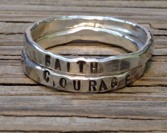 custom name ring stacking rings, ONE hand stamped fine silver stacking rings, silver ring for girlfriend personalized moms jewelry