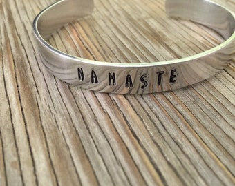 Yoga jewelry Namaste stacking bracelet Hand stamped cuff bracelet 3/8 inch aluminum ONE bracelet ready to ship gift for her