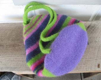 Striped Backpack Shoulder Bag  Boiled Wool Felted Hand Made Green Pink Purple