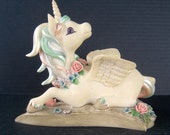Vintage Rainbow Unicorn Figurine Collectors Edition Tender of Rainbow Dreams Sweethearts Signed and numbered Hamilton Collection 1990s