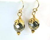 Gold Pyrite Earrings