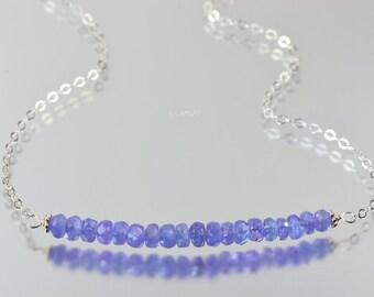 Silver Tanzanite Bar Necklace