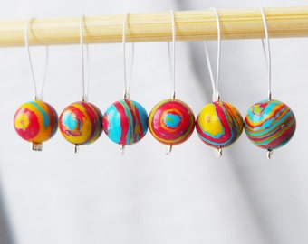 Rainbow Clouds - Six Snag Free Stitch Markers - Fits Up To 5.5 mm (9 US) - Limited Edition