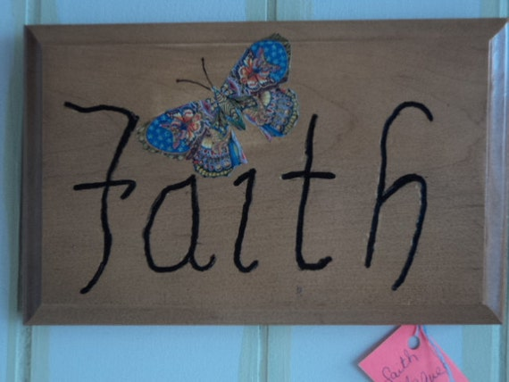 Wall hanging wood burned faith wall plaque