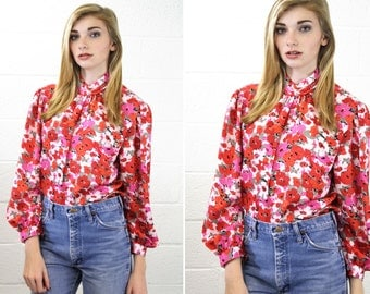 Pink and Red Floral Woman's Vintage Power Blouse