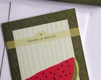 Watermelon, Funny, Cute, Funny Thank you Card, Greeting Card, Sale