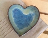 Blue Green Ceramic Heart Dish, Jewelry Holder, Ceramic Catch All, Heart Dish, Wedding Gift, Ring Dish, Jewelry Storage