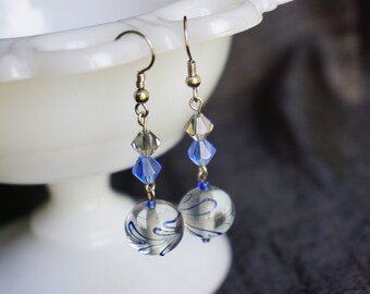 Blue and Gray beaded earrings