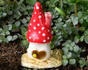 Mushroom Fairy House Miniature Little Clay House Ceramic Pottery Glazed   RED  Home  terrarium....