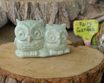 Owl Wedding cake topper Mint Green  OWLS  Miniatures on a Log Ceramic Glazed or terrarium owls #2log