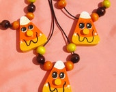 Candy Corn Necklace Hand Painted Fall Necklace Autumn Necklace Fall Jewelry Halloween Necklace Wooden Necklace Halloween Jewelry Candy Corn