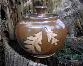 White Oak Covered Jar, cookie jar, canister, covered jar, handmade pottery