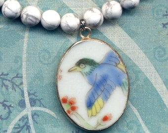 Qing Pottery Shard Pendant Blue Bird of happiness, Blue Crane Necklace, Howlite Necklace, Porcelain Jewelry, Handmade Jewelry