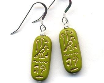 Sterling Silver Egyptology Earrings, Green Sterling Silver Earrings, Hierographic Avocado Green Sterling Silver Earrings by Annaart72