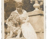 Pretty Woman Petting the Lion vintage photo 1919 snapshot