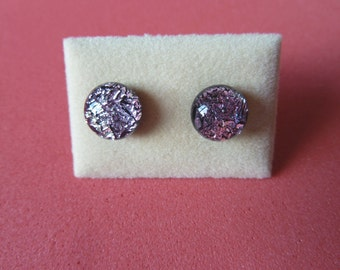 Mini Dichroic Glass Stud Earrings Surgical Steel Hypoallergenic Crinklized  Pink Handmade