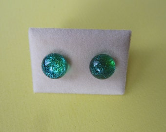 Mini Dichroic Glass Stud Earrings Surgical Steel Hypoallergenic Green/blue Handmade