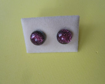 Mini Dichroic Glass Stud Earrings Surgical Steel Hypoallergenic Dark Pink Handmade