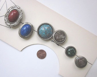 NONY Faux Stone and Silver Button Covers on Card