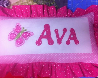 Pillow Personalized Name BUTTERFLY APPLIQUE Ruffled 12x18