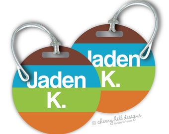 GROOVY Round premium bag tags - 4 inch - click on image to enlarge - seen in Parents magazine and Family Fun magazine