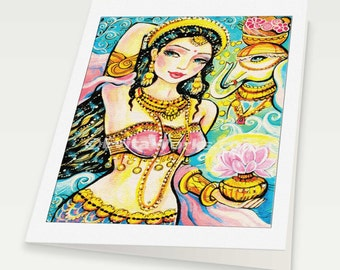 Lakshmi, beautiful Indian woman painting Indian decor feminine beauty bollywood dance, Indian woman card, woman card, 6x8