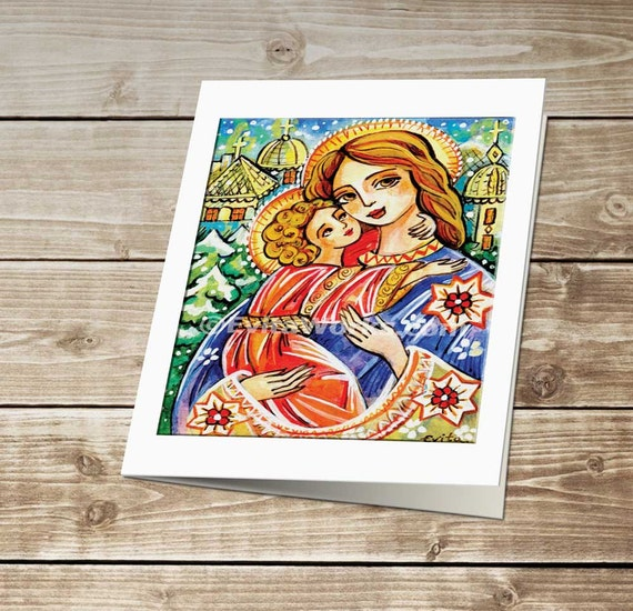 Folk Art Icon Religious Painting Mary and Jesus Madonna and Child Virgin Mary Mother Wall Decor, greeting card, A5 Art Card, 6x8