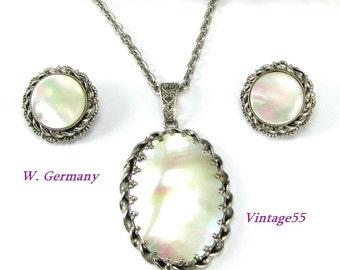 Necklace Set MOP Pendant Earrings West Germany