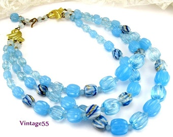 Necklace Blue Beaded Plastic Three Strand West Germany