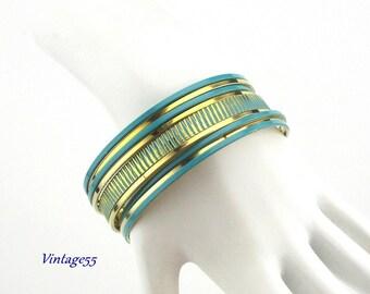 Bangle Bracelets Turquoise Gold tone Retro
