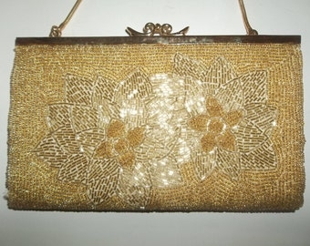Gold Beaded Vintage Evening Bag Convertible Purse Metal Frame Fancy Kiss Clasp Floral Pattern Holiday Purse Poinsettia Pattern 60s Style