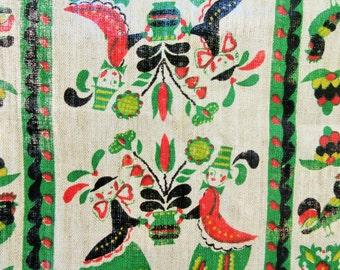 Vintage Tea Towel, Pennsylvania Dutch, Linen Dish Towel, Dish Towel, Linen Towel, Folk Towel, Folk Motifs, Chickens, Retro Vintage Kitchen