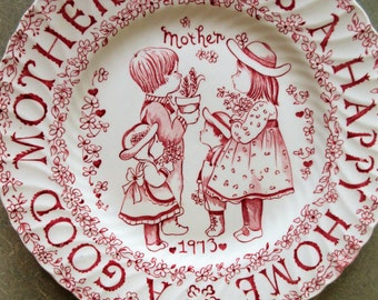 Vintage Plate, Mother Plate, 1973 Collectible Plate, Crownford China, Norma Sherman, Mother Tribute, Made in England, Good Mother Happy Home
