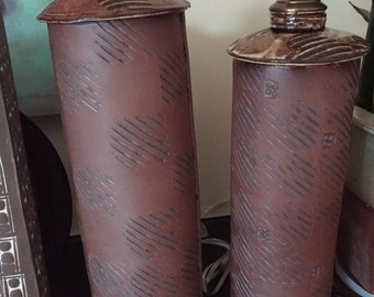 "Terra Cotta Lamps 28""& 24""+ Tall"
