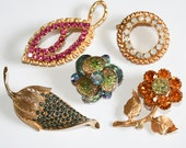 Stash Lot of Five Rhinestone Brooches