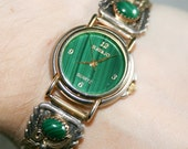 Navajo Malachite Watch with Sterling Silver Tips
